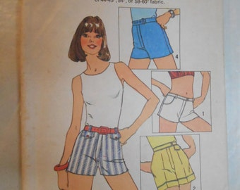 """Vintage PATTERN Simplicity 6946 Juniors and Misses' One-Yard-Shorts Size 12 Waist 26 1/2"""""""