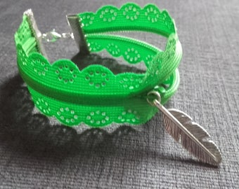Silver tone chains and beaded zipper charm slider and Apple green fantasy