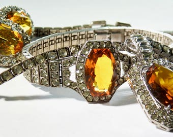 Otis Sterling Gold Glass and Clear Rhinestone Parure Spectacular