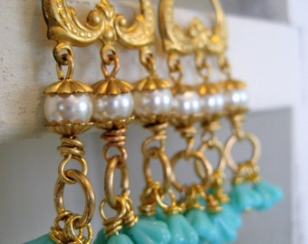 Carlena. Vintage Brass Pearl and Turquoise Flower Long Dangle Earrings