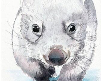 Baby wombat artwork, wombat wall art, animal art print, wall art wombat, kids room wombat art, kids room wall art, nursery wall art,
