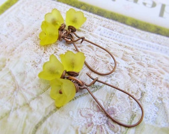 Yellow Flower earrings Nature jewelry dangle drop