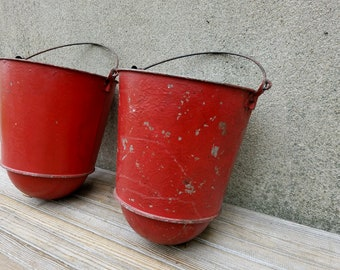 Set of Two Vintage Round Bottom Galvanized Red Fire Bucket Water Pails
