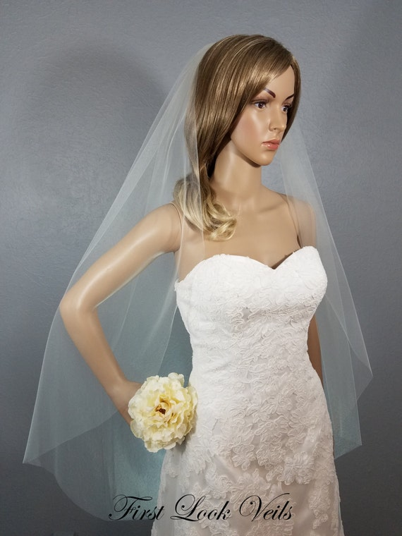 Ivory Wedding Veil, Bridal Fingertip Veil, One Layer Plain Viel, Wedding Vail, Bridal Accessory, Bridal Accessories, Short Veil, Black Veil