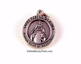 Saint Teresa de Avila Religious Medal Patron Saint of Writers and Headaches | Italian Rosary Parts
