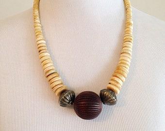 Vintage Tribal Wood and Bone Boho Necklace