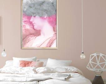 Abstract portrait painting Abstract women art Large pink Art Women portrait art Bedroom wall art Women art print Female art print Mela Fay