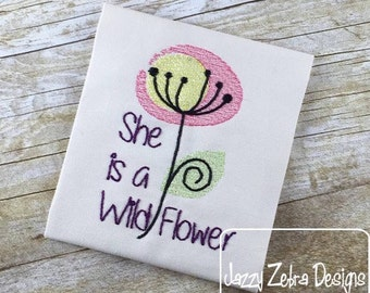 She is a wild flower saying sketch Embroidery Design - girl sketch Embroidery Design - flower sketch Embroidery Design