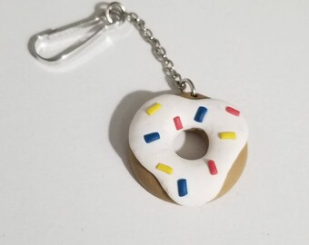 Polymer Clay Donut Keychain - Color Choices and Customizable