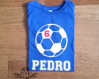 Personalized soccer birthday shirt, boys soccer shirt, personalized birthday shirt, soccer gifts, gifts for boys