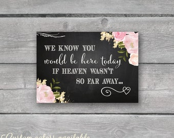 Memory sign Wedding sign watercolor floral CHALKBOARD in memory sign We know you would be here today heaven far away printable digital jpg07