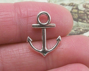 9 Anchor charms, 19x15mm, antique silver finish