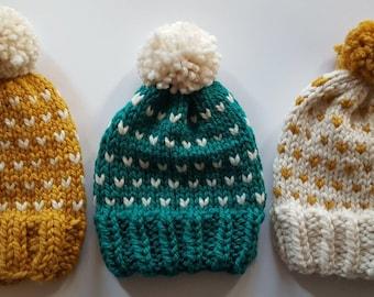 Polka Dot Pom Pom Hat