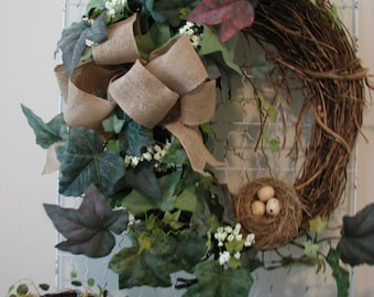 Farmhouse Wreath With Nest