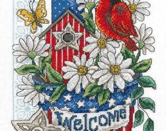 Cross Stitch Kit - PATRIOTIC WELCOME -  Imaginating Cross Stitch Kit - Birdhouse Counted Cross Stitch Kit - Cardinal Cross Stitch