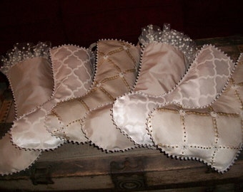 TEN DOLLARS EACH Six (6) Amazing  White, Cream and Taupe Textured Coordinating Hand Beaded Christmas Stockings 2015 Collection