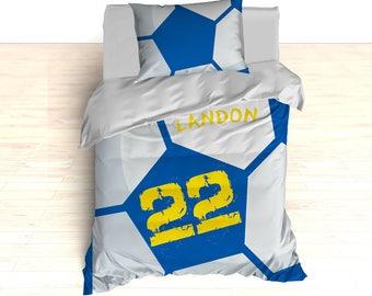 Custom Soccer Bedding, Soccer Comforter, Soccer Duvet, Personalized Soccer Bedding, Twin, Toddler, King, Queen, Nursery Room, Soccer Room