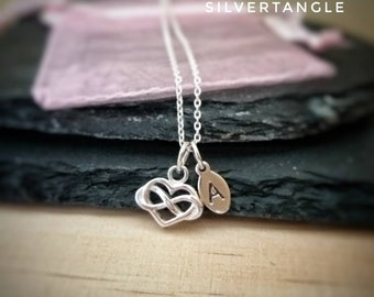 Personalised Initial Silver Heart Necklace - Heart Necklace - Sterling Silver Heart - Sterling Silver Stamped Initial Necklace