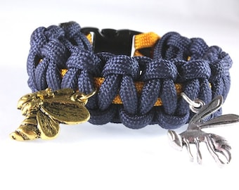 School Colors Paracord Bracelet, Paracord and School Mascot Charms, School Spirit Bracelet, Custom Made Bracelet