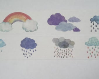 Design Washi tape weather Clouds rain watercolor