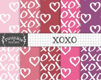 Valentine Digital Paper Pack, Love Hearts, XOXO, Hand Drawn Digital Paper, Pink Scrapbook Paper, Instant Download, Commercial Use