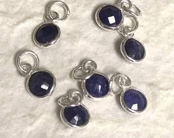 2 Sterling Silver and Sapphire Charms - 6mm  September Birthstone - Add on Gemstones   GL189