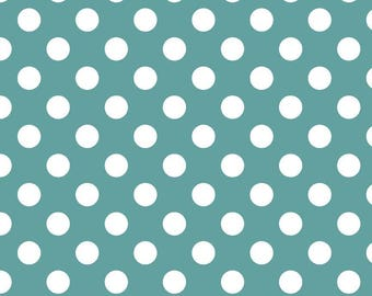 "Teal Medium Dots 3/4"" by Riley Blake Designs - White on Teal Blue Green - Quilting Cotton Fabric - choose your cut"