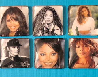 Janet Jackson Magnets, Refigerator Magnets, Square Glass Dome Magnets, Set of 6 Magnets, Office Decor,Classroom Decor, Large Magnets