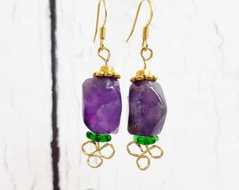 Simple Amethyst & 14k Gold Dangle Earrings ~ 6th Anniversary Gift For Wife, Birthday Gift For Mom ~ February Birthstone Jewelry ~ Handmade