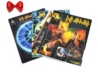 Vintage Def Leppard Guitar Books Guitar Tabs Pyromania, Hysteria, Adrenalize, High N Dry Tabs 80s Rock Gift for Def Leppard Fans