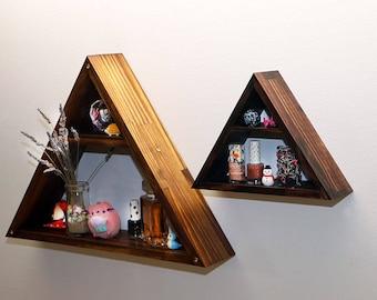 Triangle Shelf, Swarovski Crystal, Home Decor Storage,Wood Wall Shelves, Modern Shelving, Hand Stained, Geometric Shelf, Large, Extra Large