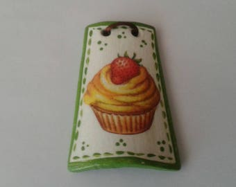 Tile terracotta decoupage from Wall cupcake Strawberry kitchen gift idea to hang