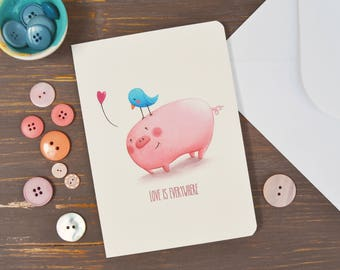 Greeting Card with original illustration, funny animals printed on paper, pig and bird, love and friendship card