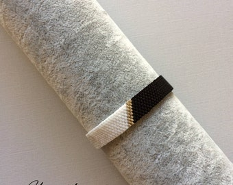 Half black half white / midyuki black, white and silver beaded bracelet / peyote weave /