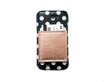 Phone Pocket / Sticky Wallet ID Case / Metallic Leather Rose Gold Copper Foil Geniune Cowhide / Adhesive business card holder 3M iphone plus