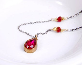 Pendant Necklace, Vintage Swarovski Ruby Red Oxidized Sterling Silver Jewelry, July Birthstone Necklace Gifts for Her Under 40