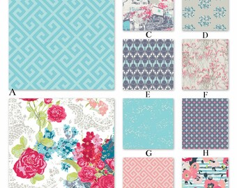 Pink, Aqua and Gray Floral Custom Crib and Baby Bedding - The Land Collection