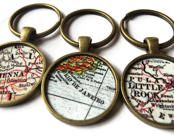 father's day gift, custom map keychain, Bronze keychains, personalized keychain, husband gift, mens gift, Grandfather gift, father gift