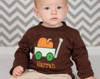 Personalized Pumpkin Wagon Boys Fall Halloween or Thanksgiving Shirt, Boys Fall Shirt, Boys Pumpkin Shirt, Boys Thanksgiving Shirt