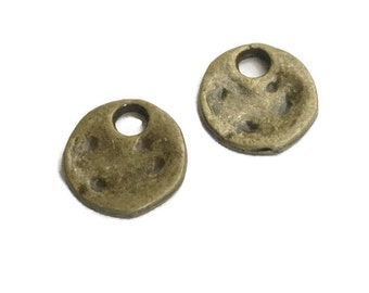 50 Antiqued Bronze Small Flat Round Charms 12 x 11mm