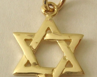 Genuine SOLID 9K 9ct YELLOW GOLD 3D Star of David charm pendant