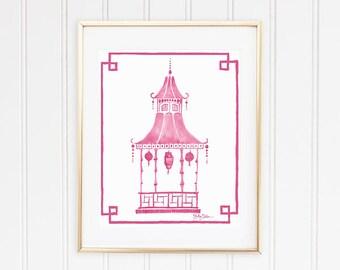 Pagoda Decor, Pagoda Wall Print, Pink Pagoda Art, Pink Chinoiserie Print, Pagoda Picture, Preppy Pagoda, Pink Asian Art