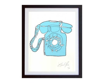 PHONE, Small (Color):  Hand Painted, Hand Painted Framed and Signed Edition of 100 by Jason Oliva Art Painting Print Picture Gift Telephone
