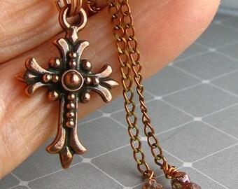 Copper Cross Necklace...Antique Copper Cross Necklace...Copper plated pewter Cross Necklace....