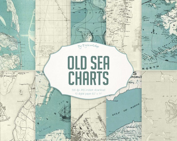 Alte Karten Digital Papier Alten Seekarten
