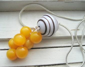 Gelato dangle necklace, silver chain, vintage Lucite