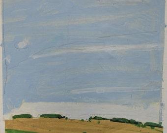 Escape, Original Landscape Collage Painting on Paper, Stooshinoff