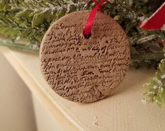 Clay Christmas Ornament, Clay Script Christmas Ornament