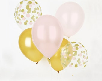 Set of 12 x12'' Gold and choose your colors and gold confetti's balloons!