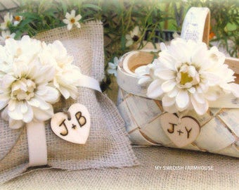 Flower Girl Basket and Ring Bearer Pillow SET Rustic Beach or Shabby Chic Wedding Personalized YOUR CHOICE of CoLoR and FLoWeR